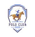 polo club logo design jockey riding with jumping vector image