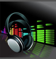 realistic headphones digital equalizer background vector image