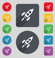 Rocket icon sign A set of 12 colored buttons and a vector image vector image