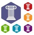 Roman column icons set vector image vector image