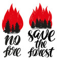 save the forest no fire emblem calligraphic text vector image