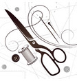 scissors needle and thread sewing vector image vector image