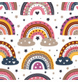 seamless pattern with beautiful rainbows vector image