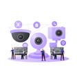 security characters monitoring surveillance system vector image vector image