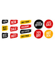 set discount label with advertising text on brush vector image