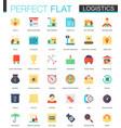 set flat logistics transportation icons vector image
