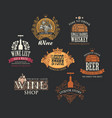 set logos for alcoholic drinks in vintage style vector image