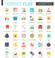 set of flat logistics transportation icons vector image vector image