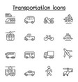 set public transport related line icons vector image vector image
