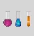set realistic laboratory glassware isolated vector image vector image