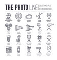 set taking photos thin line icons pictograms vector image vector image