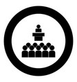 speaker before the audience black icon in circle vector image vector image