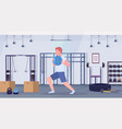 sporty man doing crossfit exercises running with vector image vector image