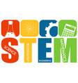 stem education logo banner with learning icons vector image