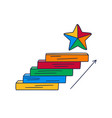 steps up to star doodle drawn hand with vector image