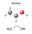 Structural chemical formula and model of ethanol vector image vector image