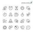 time management line icons editable stroke vector image