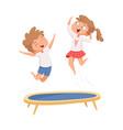 trampoline jumping children sport games happy vector image