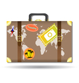 Traveling bag with stickers and world map vector image vector image