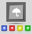 Umbrella icon sign on the original five colored vector image vector image