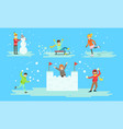 winter activities set people playing snowballs vector image vector image