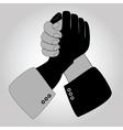 Handshake blue shaking hands vector image
