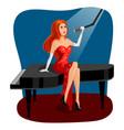 jazz singer woman on grand piano cartoon vector image