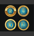 10 years warranty golden labels collection 6 vector image vector image