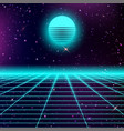 80s style abstract with neon grids and starry sky vector image