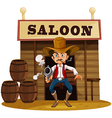 A man holding a gun outside the saloon bar vector image vector image