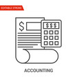 accounting icon thin line vector image vector image