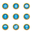 adventure journey icons set flat style vector image vector image
