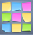 blank color message sticky papers set vector image vector image