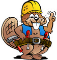 cartoon a working handyman beaver vector image vector image