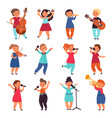 child musicians children play instruments music vector image