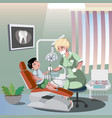 children s dentist and patient vector image vector image