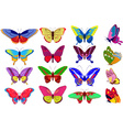Colorful Set of Butterflies vector image