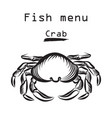 crab icon seafood sign fish menu restraunt cover vector image vector image