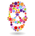 Flower-skull-colors-on-white vector image vector image