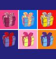 gift box pop art style vector image vector image