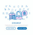 giveaway concept woman with gift vector image vector image