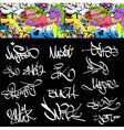 Graffiti font tags urban set vector image vector image
