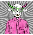 Hand Drawn Fashion of dressed up bull vector image vector image