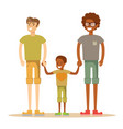 happy mixed-race gay family with son vector image vector image