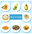 Health food eight icons of dishes and drinks vector image