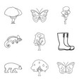 healthy forest icons set outline style vector image vector image