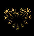 heart firework gold isolated vector image vector image