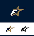 letter f logo template with star design element vector image