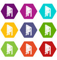 market exit icons set 9 vector image