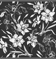 monochrome floral seamless pattern with hand drawn vector image